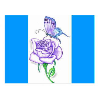 Carte Postale Le papillon violet avec s'est levé