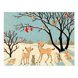 Carte Postale Le pays des merveilles vintage d'hiver