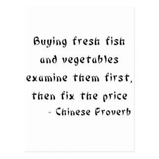 Carte Postale Le poisson frais et les légumes de achat les