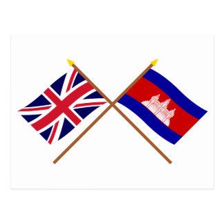 Carte Postale Le R-U et les drapeaux croisés par Cambodge