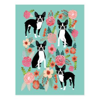 Carte Postale Le ressort de Boston Terrier fleurit - le terrier
