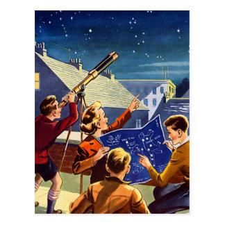 Carte Postale Le rétro kitsch vintage Sci fi 40s badine le