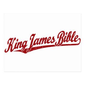 Carte Postale Le Roi James Bible Script Logo en rouge affligé