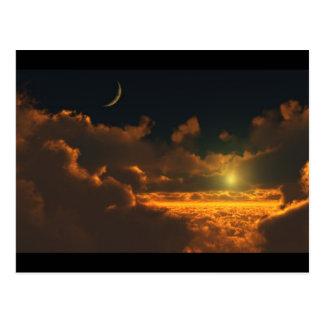 Carte Postale le soleil et lune dans les nuages