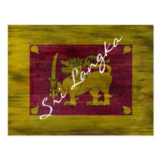 Carte Postale Le Sri Lanka a affligé le drapeau sri-lankais