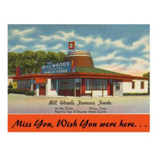 Carte Postale Le Texas, les nourritures célèbres de l'en bois de