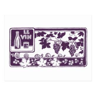 Carte Postale Le Vin, étiquette vintage de vin