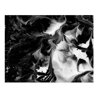 Carte Postale LE YIN et LE YANG (art abstrait noir et blanc) ~.