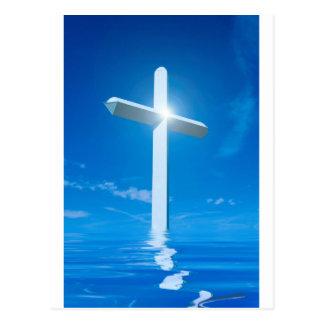 Carte Postale L'eau bleue croisée blanche de christianisme