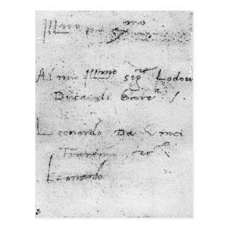 Carte Postale L'écriture de Leonardo da Vinci