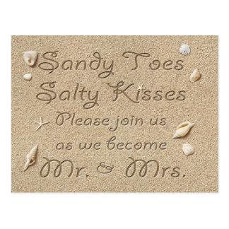Carte Postale Les baisers salés d'orteils de Sandy de plage font