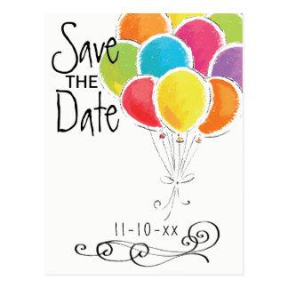 Carte Postale Les ballons colorés de fête d'anniversaire font