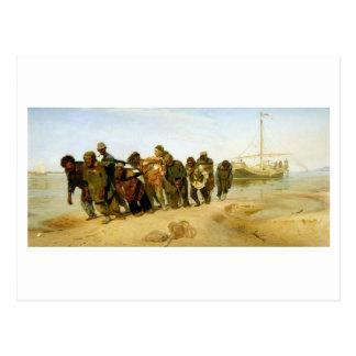 Carte Postale Les bateliers sur le Volga, 1870-73