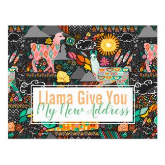 Carte Postale Les beaux lamas sur le gris se déplaçant/ont