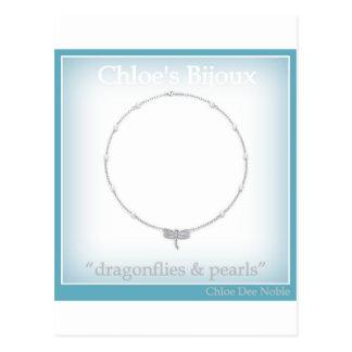"""Carte Postale Les Bijoux #5 """"libellules et perles """" de Chloe"""