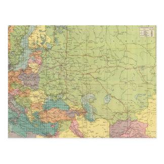 Carte Postale Les communications de l'Europe sur terre, mer