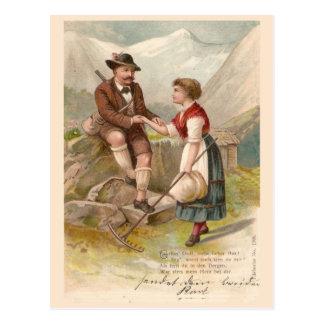 Carte Postale Les couples suisses s'approchent du Jungfrau,
