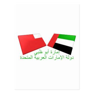 Carte Postale Les EAU et tuiles de drapeau d'Abu Dhabi