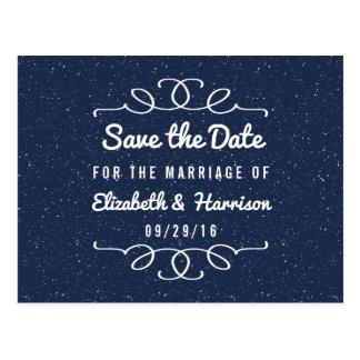 Carte Postale Les économies de mariage de nuit étoilée la date