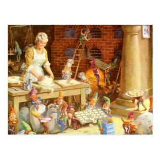 Carte Postale Les elfes de Mrs.Claus et de Père Noël font des