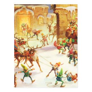 Carte Postale Les elfes de Père Noël au Pôle Nord