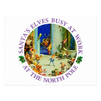 Carte Postale Les elfes de Père Noël occupés dans son atelier de