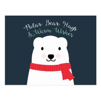 Carte Postale Les étreintes d'ours blanc et chauffent des