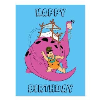 Carte Postale Les Flintstones | Fred glissant en bas de la queue