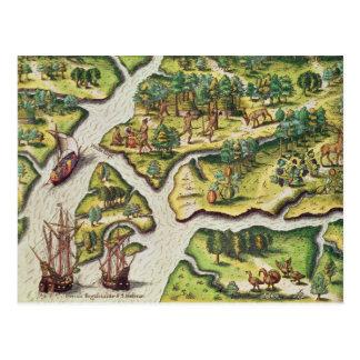 Carte Postale Les Français arrivent au port royal