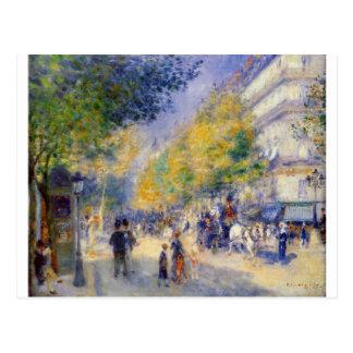 Carte Postale Les grands boulevards par Pierre-Auguste Renoir