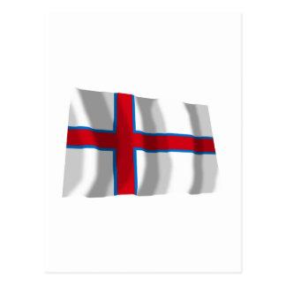 Carte Postale Les Iles Féroé ondulant le drapeau