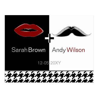 Carte Postale les lèvres et le pied-de-poule de moustache