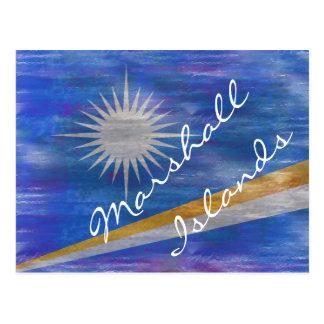 Carte Postale Les Marshall Islands ont affligé le drapeau