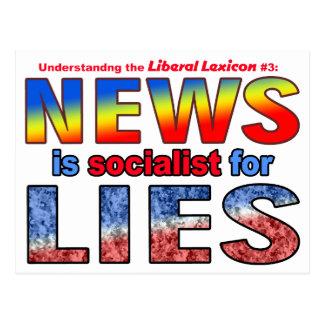 Carte Postale Les nouvelles sont socialistes pour des mensonges