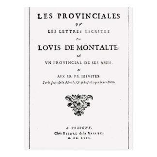 Carte Postale Les Provinciales par Blaise Pascal