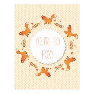 Carte Postale Les renards, le laurier et les coeurs tressent