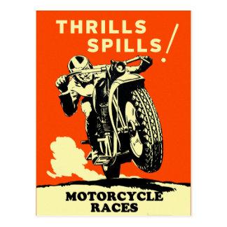Carte Postale Les rétros motos vintages emballe des flaques de
