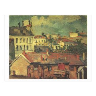 Carte Postale Les toits par Paul Cezanne