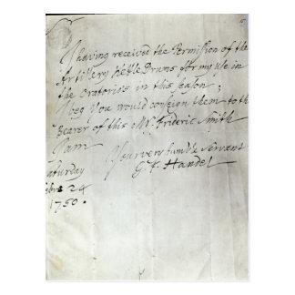Carte Postale Lettre de George Frederick Handel