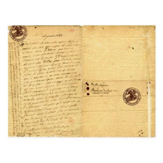 Carte Postale Lettre de Michel de Montaigne 1585