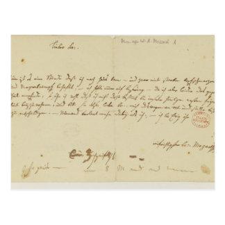 Carte Postale Lettre de Mozart à un franc-maçon, janvier 1786