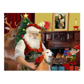 Carte Postale Lévriers de Père Noël à la maison (deux)