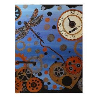 Carte Postale libellule de steampunk