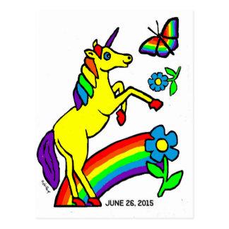 Carte Postale Licorne d'égalité d'arc-en-ciel