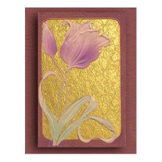 Carte Postale Lily rose victorien, 1909 sur la texture d'or