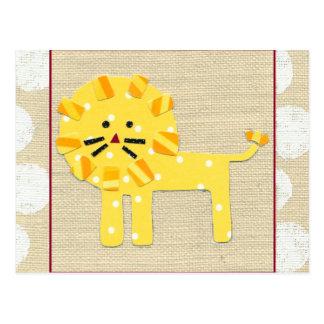 Carte Postale Lion jaune avec le pois blanc
