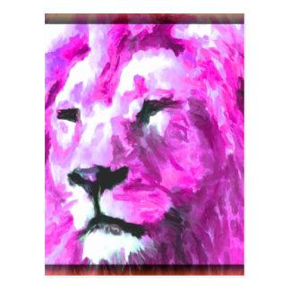 Carte Postale Lion magenta