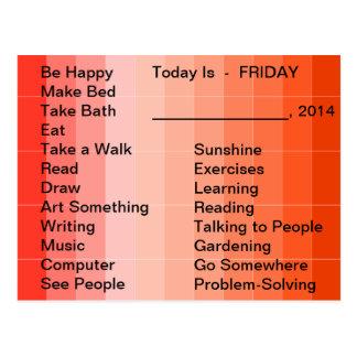 Carte Postale Liste quotidienne d'outils vivants adaptatifs pour