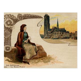 Carte Postale Litho Ca 1900 de fabrication de dentelle de