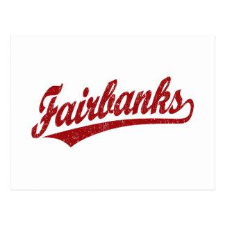 Carte Postale Logo de manuscrit de Fairbanks en rouge